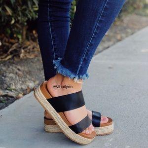 Black Espadrille Slide Sandal